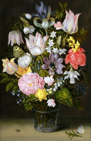 Still life of a bouquet of flowers including variegated tulips, bluebells, forget-me-nots and lily-of-the-valley (2)