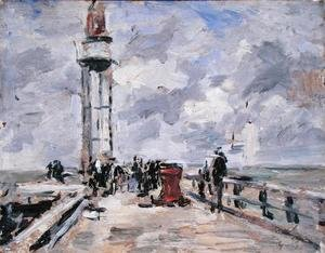 Famous Paintings Of Lighthouses The Jetty And Lighthouse At Honfleur C1885 90