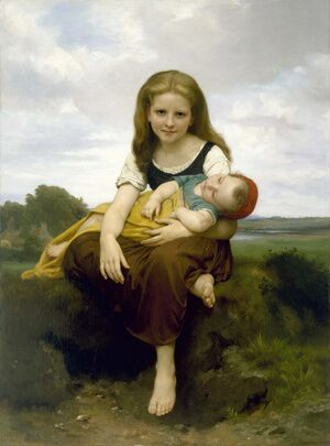 Academic Classicism painting reproductions: The Elder Sister 1869