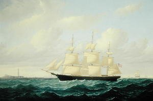 Famous paintings of Ocean Scenes: 'Dashing Wave' clipper ship off Boston Light, 1855
