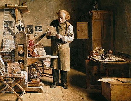 The Printer, 1875 by Adrien Ferdinand de Braekeleer - Reproduction Oil Painting