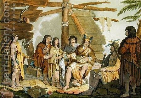 G. Bramati: Indians trading with La Perouse in Canada - reproduction oil painting