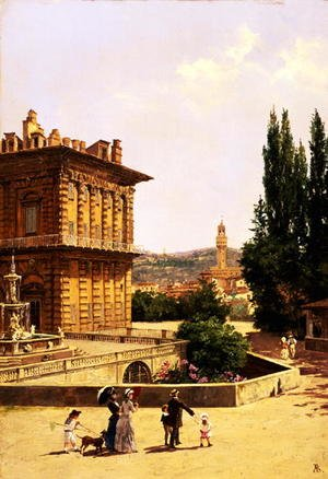 Famous paintings of Squares and Piazzas: By the Pitti Palace, Florence