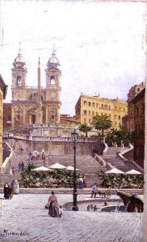 Famous paintings of Squares and Piazzas: The Spanish Steps, Rome