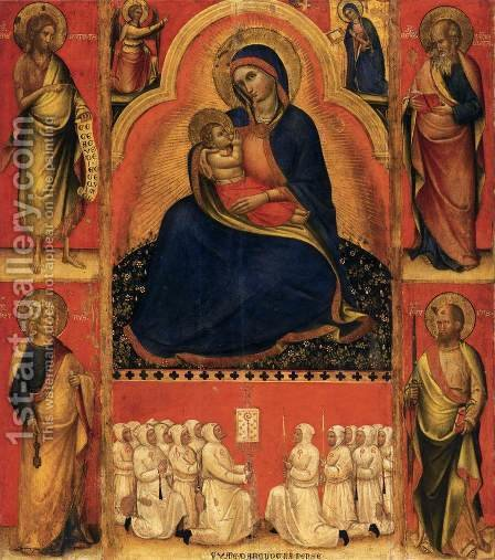 Virgin of Humility with Saints 1381-83 by Giovanni Da Bologna - Reproduction Oil Painting