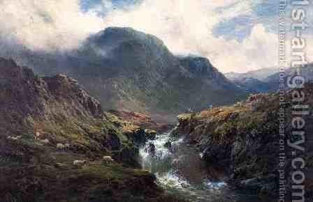 The Falls of Foyers by Alfred de Breanski - Reproduction Oil Painting