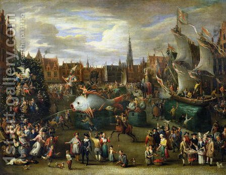 A Festival at Antwerp by Alexander van Bredael - Reproduction Oil Painting