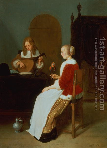 Quiringh Gerritsz. van Brekelenkam: An interior with a lute player and a woman holding a parrot - reproduction oil painting