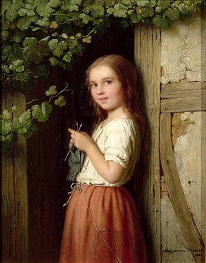 Young Girl Standing in a Doorway Knitting, 1863