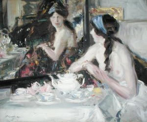 Famous paintings of Tea: At the Mirror, 1913