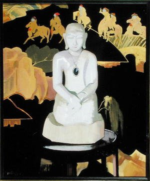 Famous paintings of Buddhism: The Buddha (Black and Gold) c.1929-30