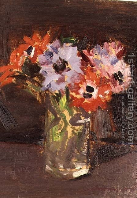 Francis Campbell Boileau Cadell: A Still Life of Anemones - reproduction oil painting