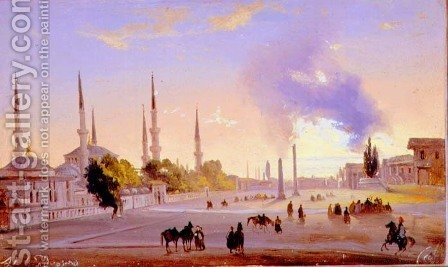 The Racecourse at Constantinople by Ippolito Caffi - Reproduction Oil Painting