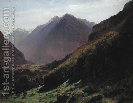 Mountain Study, c.1840-43 by Alexandre Calame - Reproduction Oil Painting