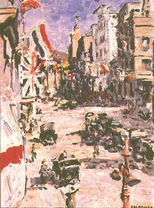 Famous paintings of Cars: Royal Visit, St. George's Street, Cape Town, 1925