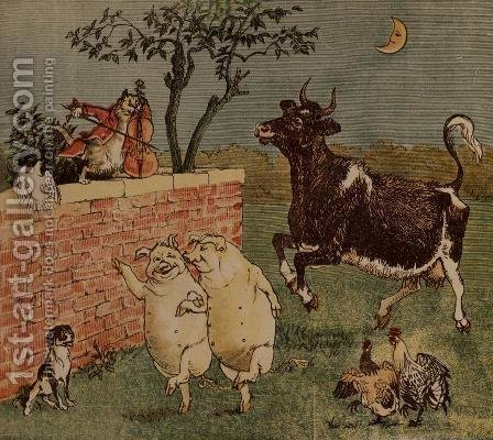 Randolph Caldecott: The Cat and the Fiddle and the Cow - Illustrations from Hey Diddle Diddle - reproduction oil painting
