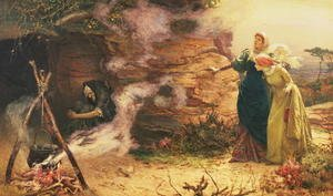 Famous paintings of Caves: A Visit to the Witch, 1882