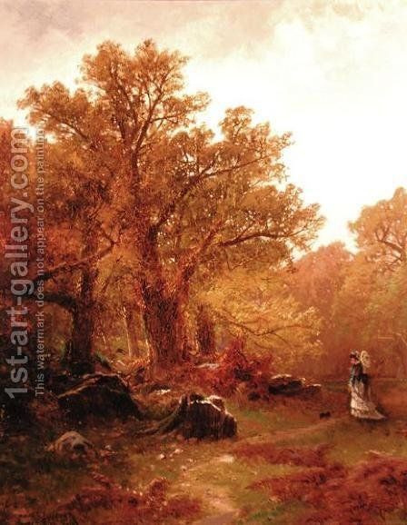 Autumn Stroll by Alfred Thompson Bricher - Reproduction Oil Painting
