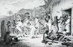 Famous paintings of Villages: Negro Dance, from 'West India Scenery with Illustrations of Negro Character', 1836