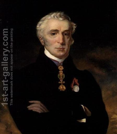 Portrait of the Duke of Wellington (1769-1852) wearing the Order of the Golden Fleece, 1837 by Henry Perronet Briggs - Reproduction Oil Painting