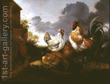 Poultry in a farmyard by Abraham Van Calraet - Reproduction Oil Painting