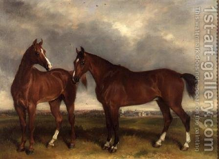 Hunters in a paddock, a town beyond by Henry Calvert - Reproduction Oil Painting