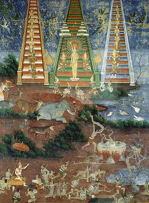 Famous paintings of Buddhism: Buddha Descending from the Heaven of Thirty Three Gods