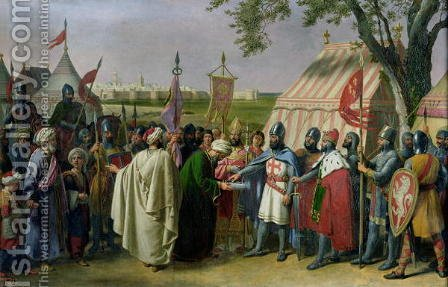 Count of Tripoli accepting the Surrender of the city of Tyre in 1124, 1840 by Alexandre-Francois Caminade - Reproduction Oil Painting