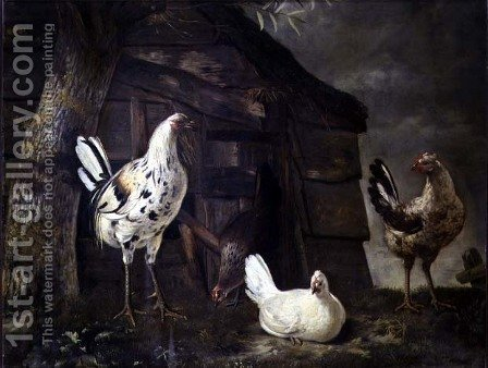 Poultry by Govert Dircksz. Camphuysen - Reproduction Oil Painting