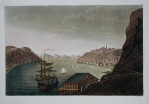 Famous paintings of Villages: Quebec and the St. Lawrence River, plate 4 from 'Le Costume Ancien et Moderne', Volume 1