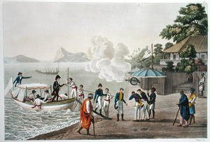 Famous paintings of Villages: First disembarkation of the French at the Portuguese outpost at Dille, Timor, plate 5 from 'Le Costume Ancien et Moderne'
