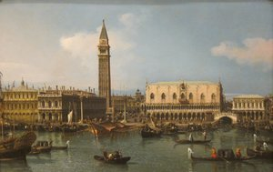 Famous paintings of Ships & Boats: The Molo from the Bacino di San Marco, Venice, 1747-50