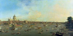 Famous paintings of Ships & Boats: The River Thames with St. Paul's Cathedral on Lord Mayor's Day, c.1747-48