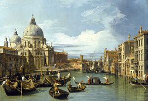 Famous paintings of Ships & Boats: The Entrance to the Grand Canal, Venice, c.1730