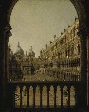 Famous paintings of Squares and Piazzas: Interior Court of the Doge's Palace, Venice, c.1756