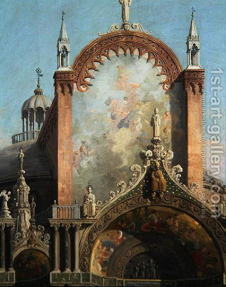 Detail of Capriccio of a Church (2) by (Giovanni Antonio Canal) Canaletto - Reproduction Oil Painting