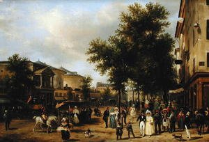 Famous paintings of Markets: View of Boulevard Montmartre, Paris, 1830