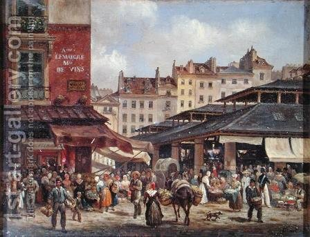 View of the Market at Les Halles, c. 1828 by Guiseppe Canella - Reproduction Oil Painting