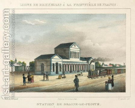 Braine-le-Comte Station, Belgium, 1843 by A. Canella - Reproduction Oil Painting