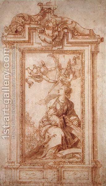Architectural Design with Female Figure and Putti by Alonso Cano - Reproduction Oil Painting