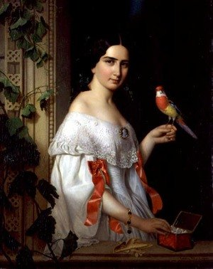 Portrait of a Lady with a Parakeet, 1856