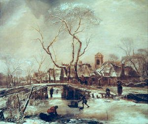 Famous paintings of Villages: Winter Scene