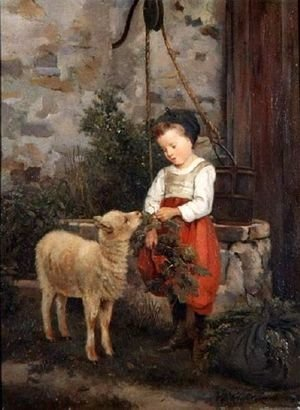 Romanticism painting reproductions: The Pet Lamb, 1877
