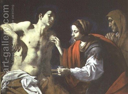 St. Sebastian Nursed by St. Irene by Giovanni Battista Caracciolo - Reproduction Oil Painting