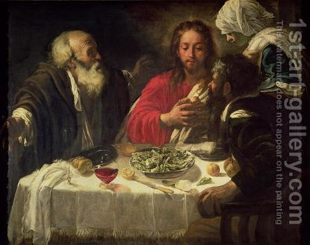 The Supper at Emmaus, c.1614-21 by (after) Michelangelo Merisi Da Caravaggio - Reproduction Oil Painting