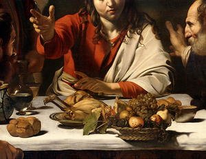 Famous paintings of Meat: The Supper at Emmaus, 1601 (detail-1)