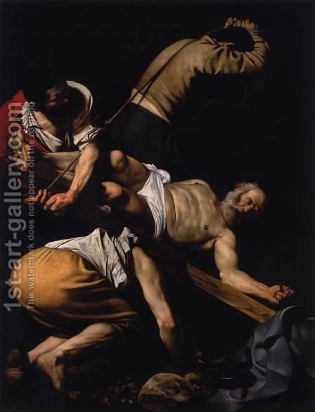 Caravaggio: The Crucifixion of St. Peter, 1600-01 - reproduction oil painting