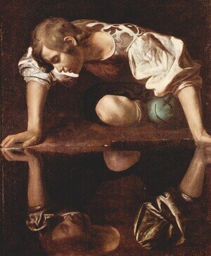 Famous paintings of Fantasy, Mythology, Sci-Fi: Narcissus, c.1597-99