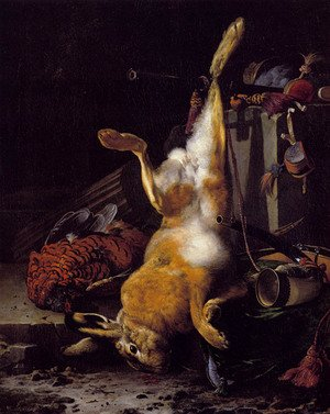 Famous paintings of Domestic Animals: A Still Life Of Dead Game And Hunting Equipment