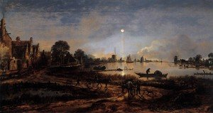 Famous paintings of Ships & Boats: River View by Moonlight